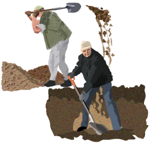 A picture of two men digging holes. The first is shoveling his dirt into the second's hole. Neither man is aware of the other