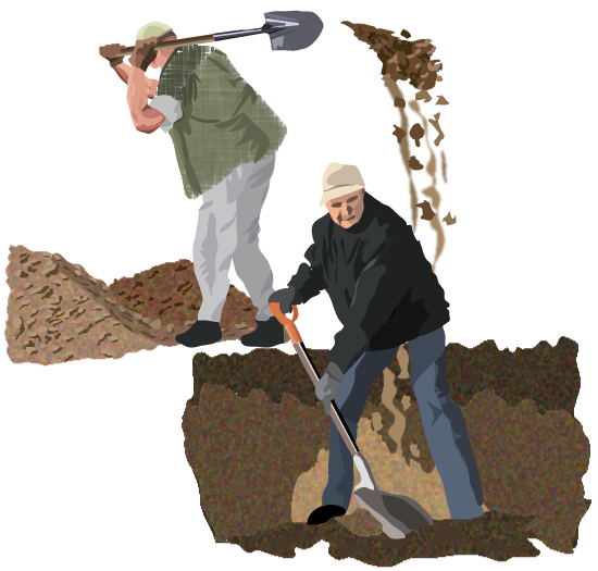 picture of two men digging holes. The first is shoveling his dirt into the second's hole. Neither man is aware of the other